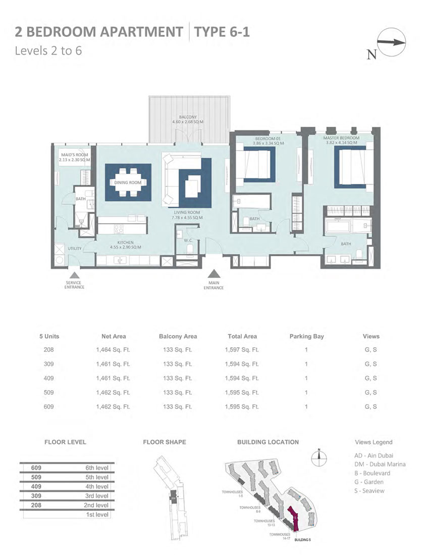 Meraas Bluewaters Apartments floor plan